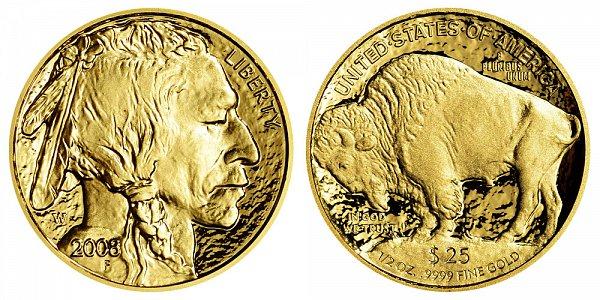 2008 W Proof Half Ounce Gold American Buffalo - 1/2 oz Gold $25