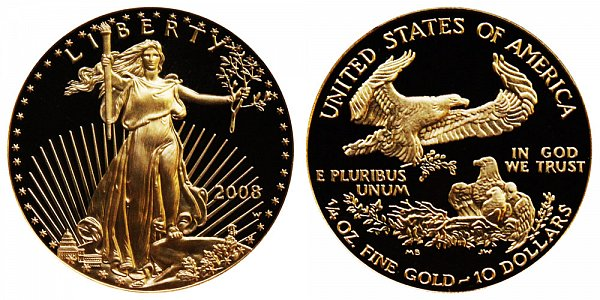 2008 W Proof Quarter Ounce American Gold Eagle - 1/4 oz Gold $10