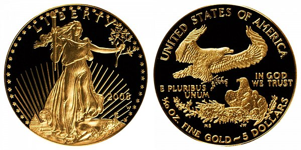 2008 W Proof Tenth Ounce American Gold Eagle - 1/10 oz Gold $5