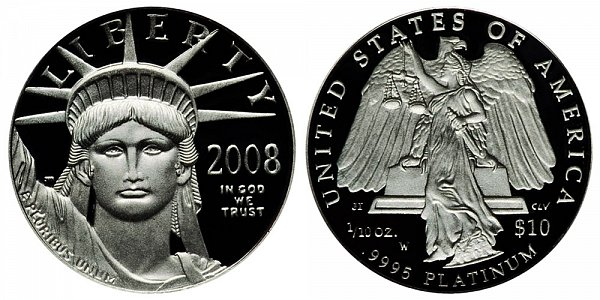 2008 W Proof Tenth Ounce American Platinum Eagle - 1/10 oz Platinum $10