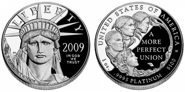2009 W Proof One Ounce American Platinum Eagle - 1 oz Platinum $100