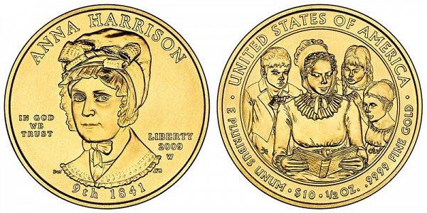 2009 Anna Harrison First Spouse Gold Coin