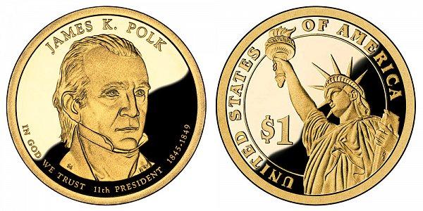 2009 S Proof James K. Polk Presidential Dollar Coin