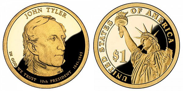 2009 S Proof John Tyler Presidential Dollar Coin