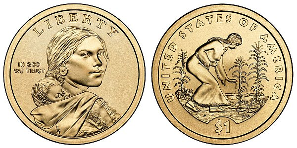 2009 P Sacagawea Native American Dollar Coin - Spread of Three Sisters