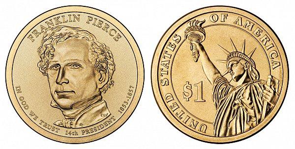 2010 D Franklin Pierce Presidential Dollar Coin