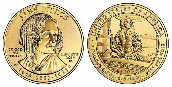 2010 Jane Pierce First Spouse Gold Coin