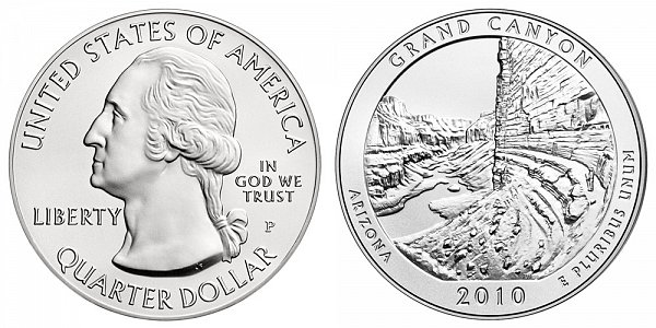 2010 Grand Canyon 5 Ounce Burnished Uncirculated Coin - 5 oz Silver
