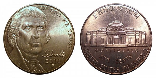 2010 P Jefferson Nickel