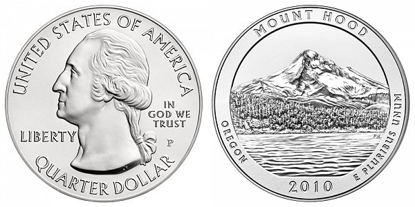 2010 Mount Hood 5 Ounce Burnished Uncirculated Coin - 5 oz Silver