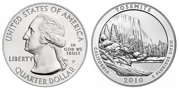 2010 Yosemite 5 Ounce Burnished Uncirculated Coin - 5 oz Silver
