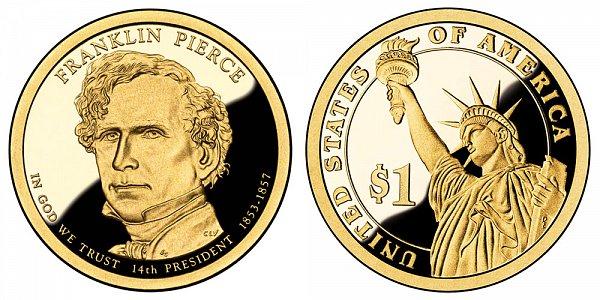 2010 S Proof Franklin Pierce Presidential Dollar Coin