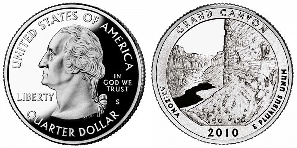 2010 S Proof Grand Canyon National Park Quarter - Arizona