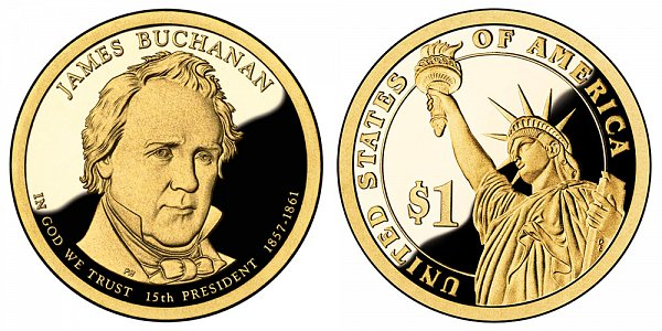 2010 S Proof James Buchanan Presidential Dollar Coin