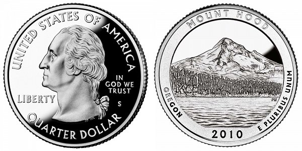 2010 S Silver Proof Mount Hood National Park Quarter - Oregon