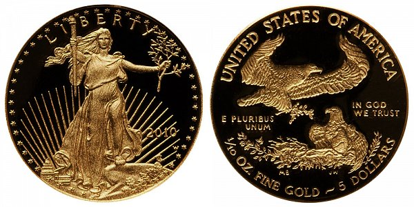 2010 W Proof Tenth Ounce American Gold Eagle - 1/10 oz Gold $5