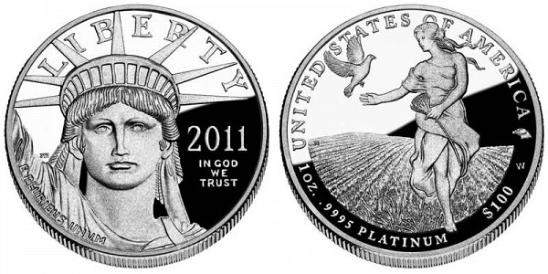 2011 W Proof One Ounce American Platinum Eagle - 1 oz Platinum $100
