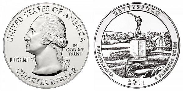 2011 Gettysburg 5 Ounce Bullion Coin - 5 oz Silver