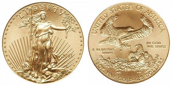 2011 Half Ounce American Gold Eagle - 1/2 oz Gold $25