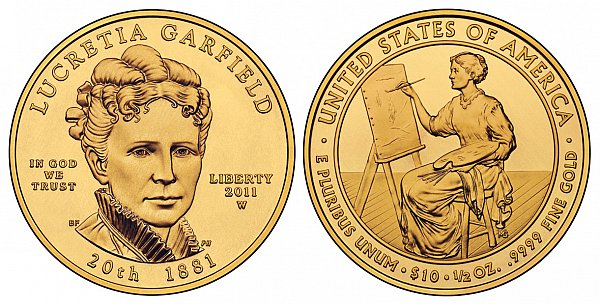 2011 Lucretia Garfield First Spouse Gold Coin