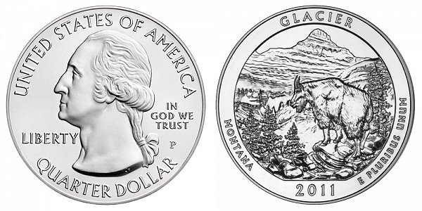 2011 Glacier 5 Ounce Burnished Uncirculated Coin - 5 oz Silver