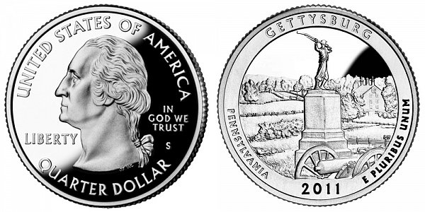 2011 S Proof Gettysburg National Military Park Quarter - Pennsylvania