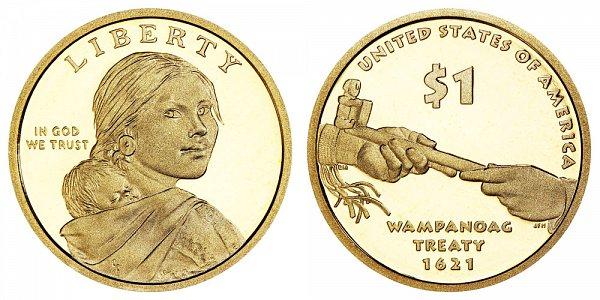 2011 S Proof Sacagawea Native American Dollar Coin - Wampanoag Treaty 1623