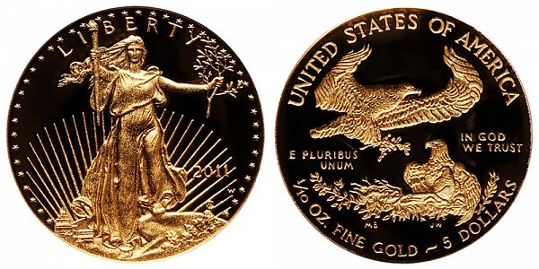 2011 W Proof Tenth Ounce American Gold Eagle - 1/10 oz Gold $5
