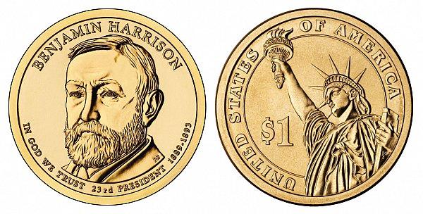 2012 D Benjamin Harrison Presidential Dollar Coin