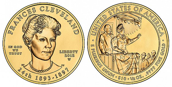 2012 Frances Cleveland 2nd Term First Spouse Gold Coin