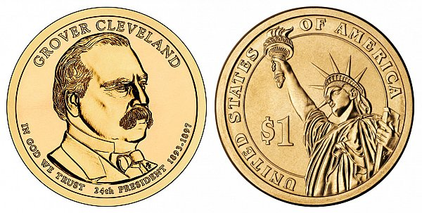 2012 D Grover Cleveland 2nd Term Presidential Dollar Coin