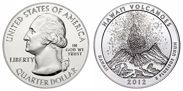 2012 Hawaii Volcanoes 5 Ounce Bullion Coin - 5 oz Silver