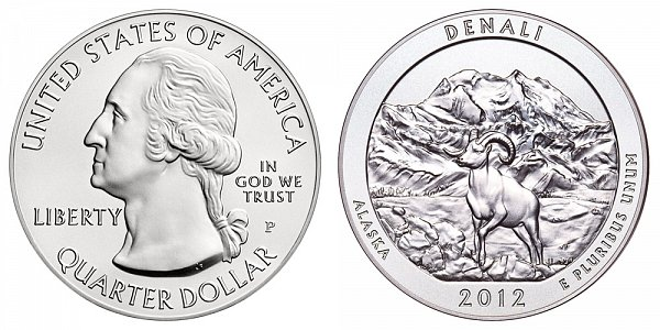2012 Denali 5 Ounce Burnished Uncirculated Coin - 5 oz Silver