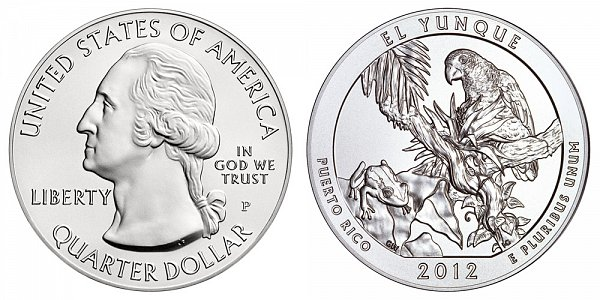 2012 El Yunque 5 Ounce Burnished Uncirculated Coin - 5 oz Silver