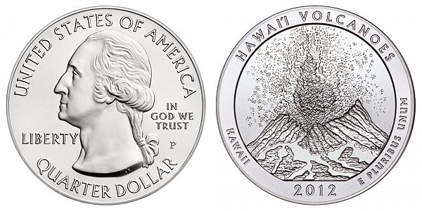 2012 Hawaii Volcanoes 5 Ounce Burnished Uncirculated Coin - 5 oz Silver