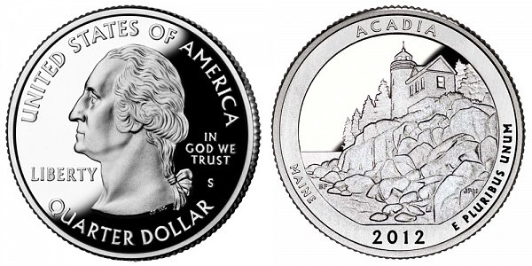 2012 S Silver Proof Acadia National Park Quarter - Maine