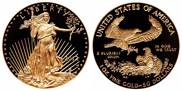 2012 W Proof One Ounce American Gold Eagle - 1 oz Gold $50