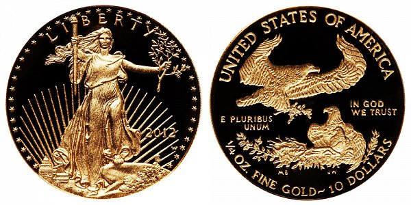 2012 W Proof Quarter Ounce American Gold Eagle - 1/4 oz Gold $10