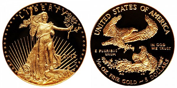 2012 W Proof Tenth Ounce American Gold Eagle - 1/10 oz Gold $5