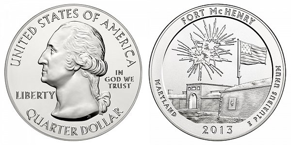 2013 Fort McHenry 5 Ounce Bullion Coin - 5 oz Silver
