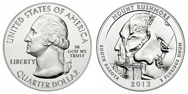 2013 Mount Rushmore 5 Ounce Bullion Coin - 5 oz Silver
