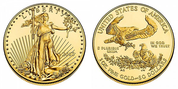 2013 American Gold Eagle - Brilliant Uncirculated $50 1oz One Ounce Gold Bullion