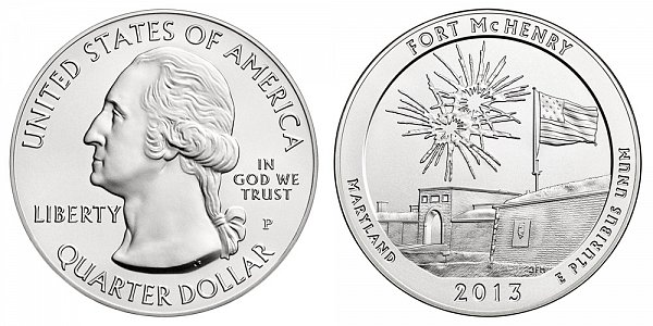 2013 Fort McHenry 5 Ounce Burnished Uncirculated Coin - 5 oz Silver