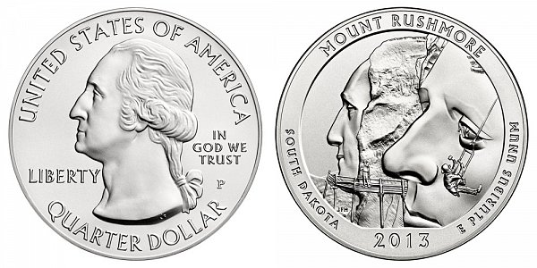 2013 Mount Rushmore 5 Ounce Burnished Uncirculated Coin - 5 oz Silver