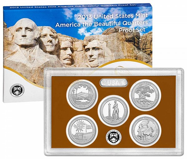 2013 America The Beautiful Quarters Proof Set - 2013-S 5 Piece Set