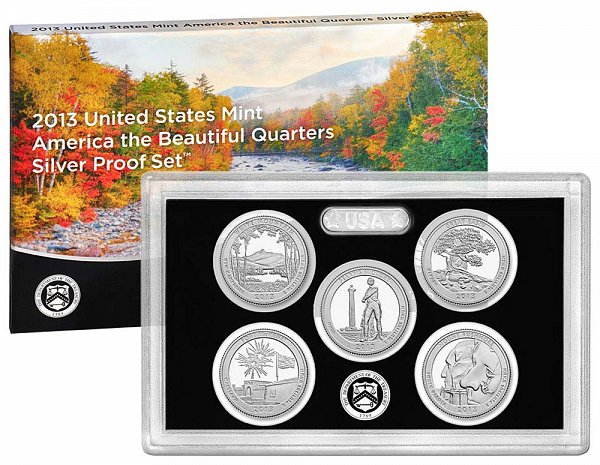 2013 America The Beautiful Quarters Silver Proof Set - 2013-S 5 Piece Set