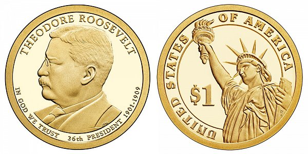 2013 S Proof Theodore Roosevelt Presidential Dollar Coin