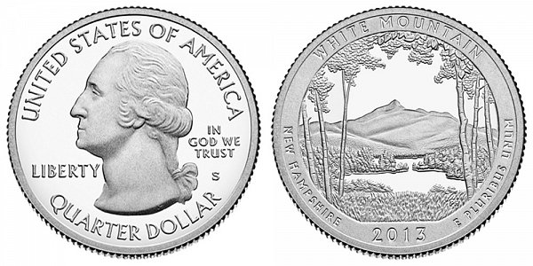 2013 S Silver Proof White Mountain National Forest Quarter - New Hampshire