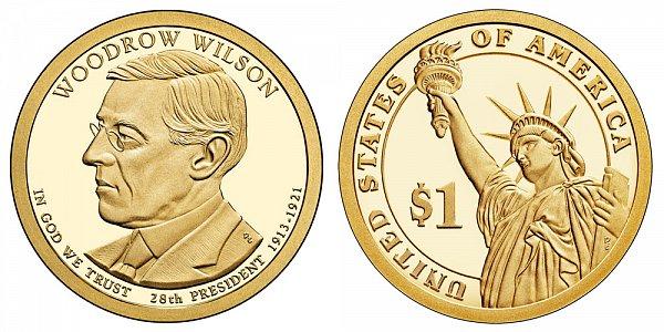 2013 S Proof Woodrow Wilson Presidential Dollar Coin