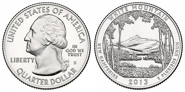 2013 S Uncirculated White Mountain National Forest Quarter - New Hampshire